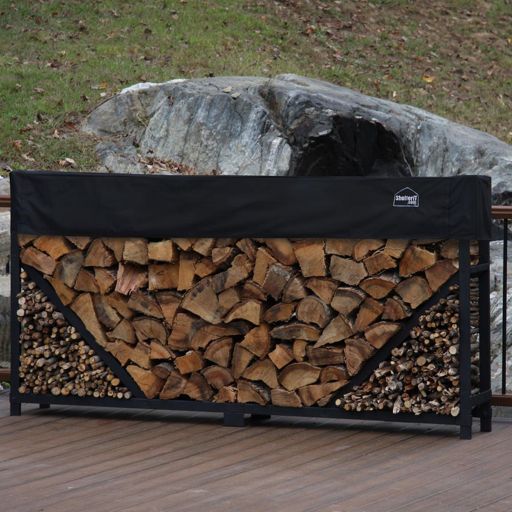 8 ft. Firewood Log Rack with Kindling Holder and Water-Resistant Cover