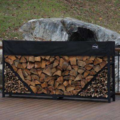 8 ft. Firewood Log Rack with Kindling Holder and Water-Resistant Cover - Straight Sides