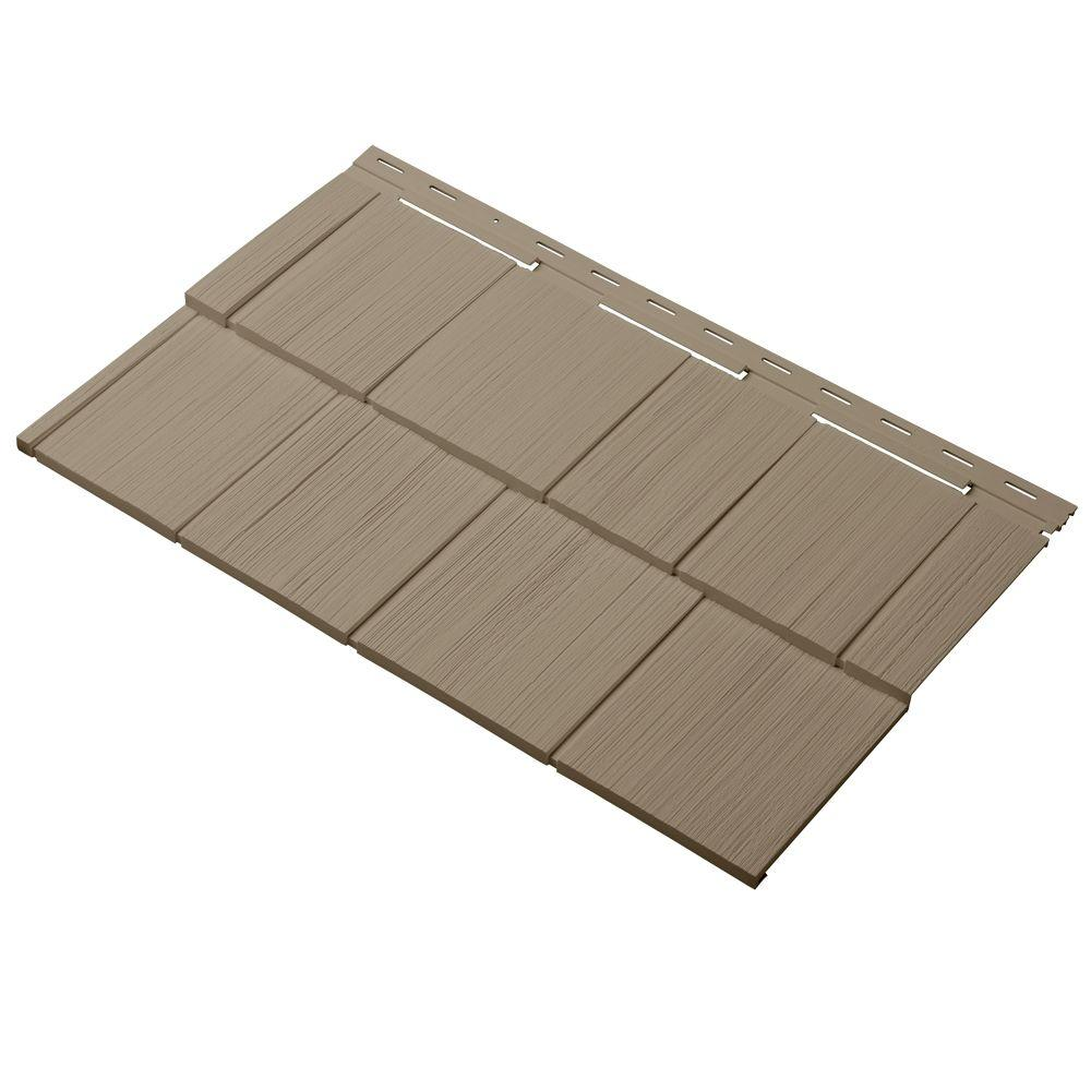 Cedar Dimensions Shingle 24 in. Polypropylene Siding Sample in Khaki