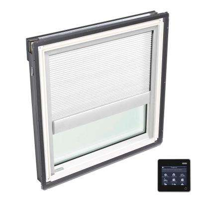 44-1/4 in. x 45-3/4 in. Fixed Deck-Mount Skylight w/ Laminated Low-E3 Glass and White Solar Powered Room Darkening Blind