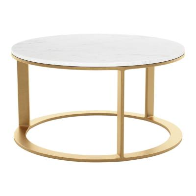 Helena 32 in. White Medium Round Marble Coffee Table