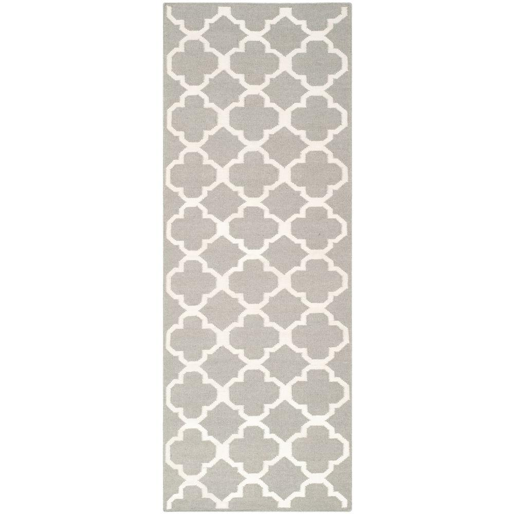 Dhurries Grey/Ivory 2 ft. 6 in. x 7 ft. Runner, Gray/Ivory