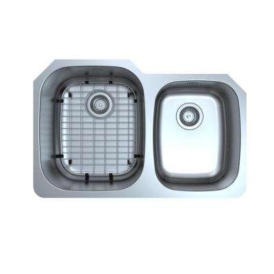 Capri Series Undermount 32 in. Double Bowl Kitchen Sink in Satin Stainless Steel with Grid and Strainers