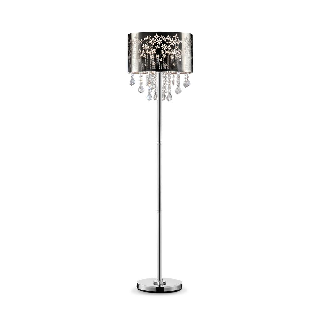 Floral Blooms Crystal Floor Lamp