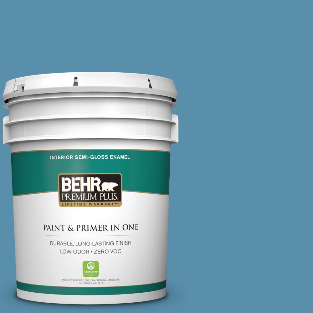 BEHR Premium Plus 5 gal. #S500-5 Treasure Map Semi-Gloss Enamel Zero VOC Interior Paint and Primer in One