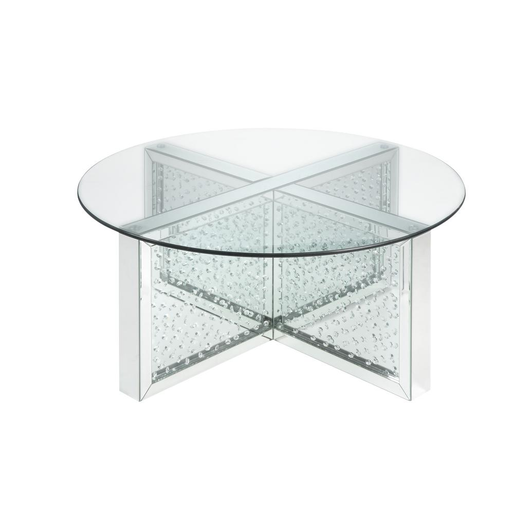 Acme Furniture Nysa Mirrored And Faux Crystals Coffee