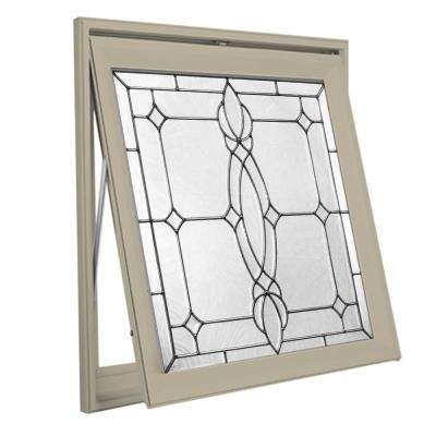 28.5 in. x 28.5 in. Decorative Glass Awning Vinyl Window - Tan