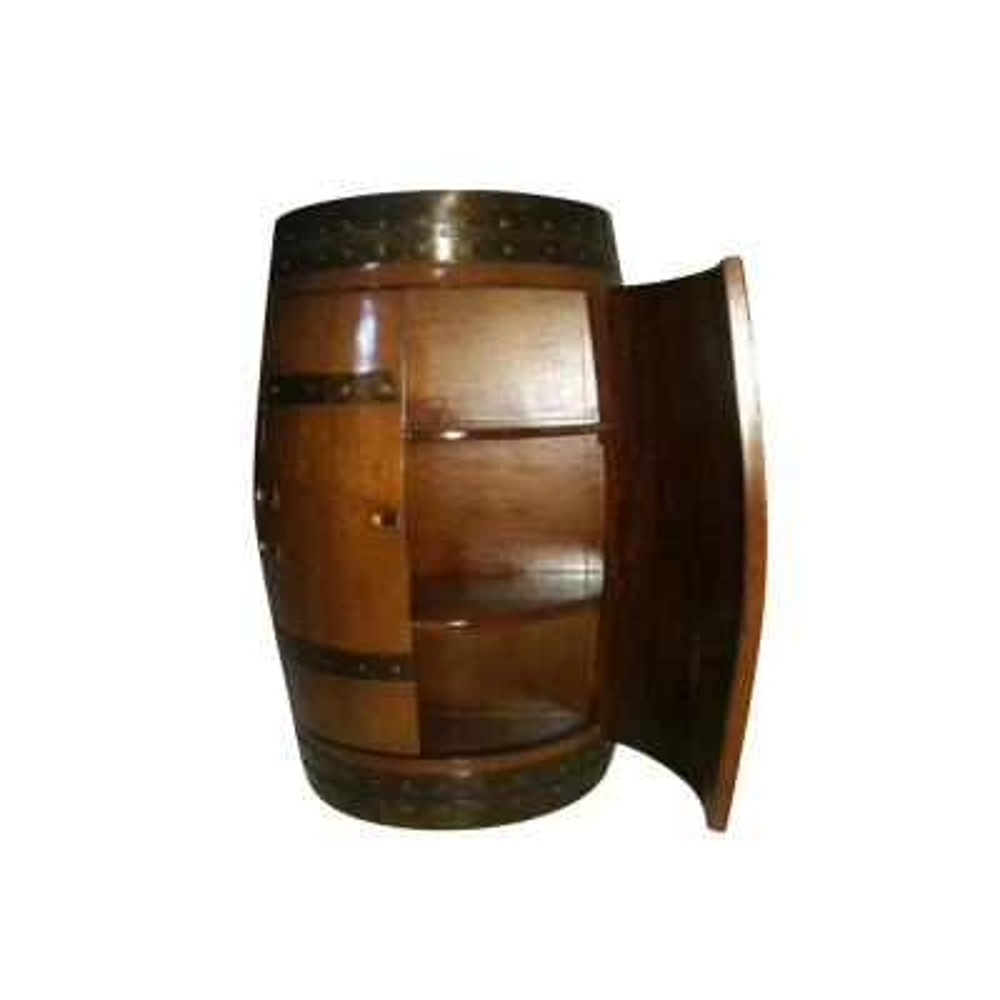 13 in. D 26 in. W 35 in. H Original 30-Bottle Lacquer Barrel Cabinet