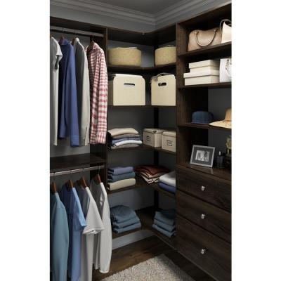 30 in. W Espresso Corner Wood Closet System