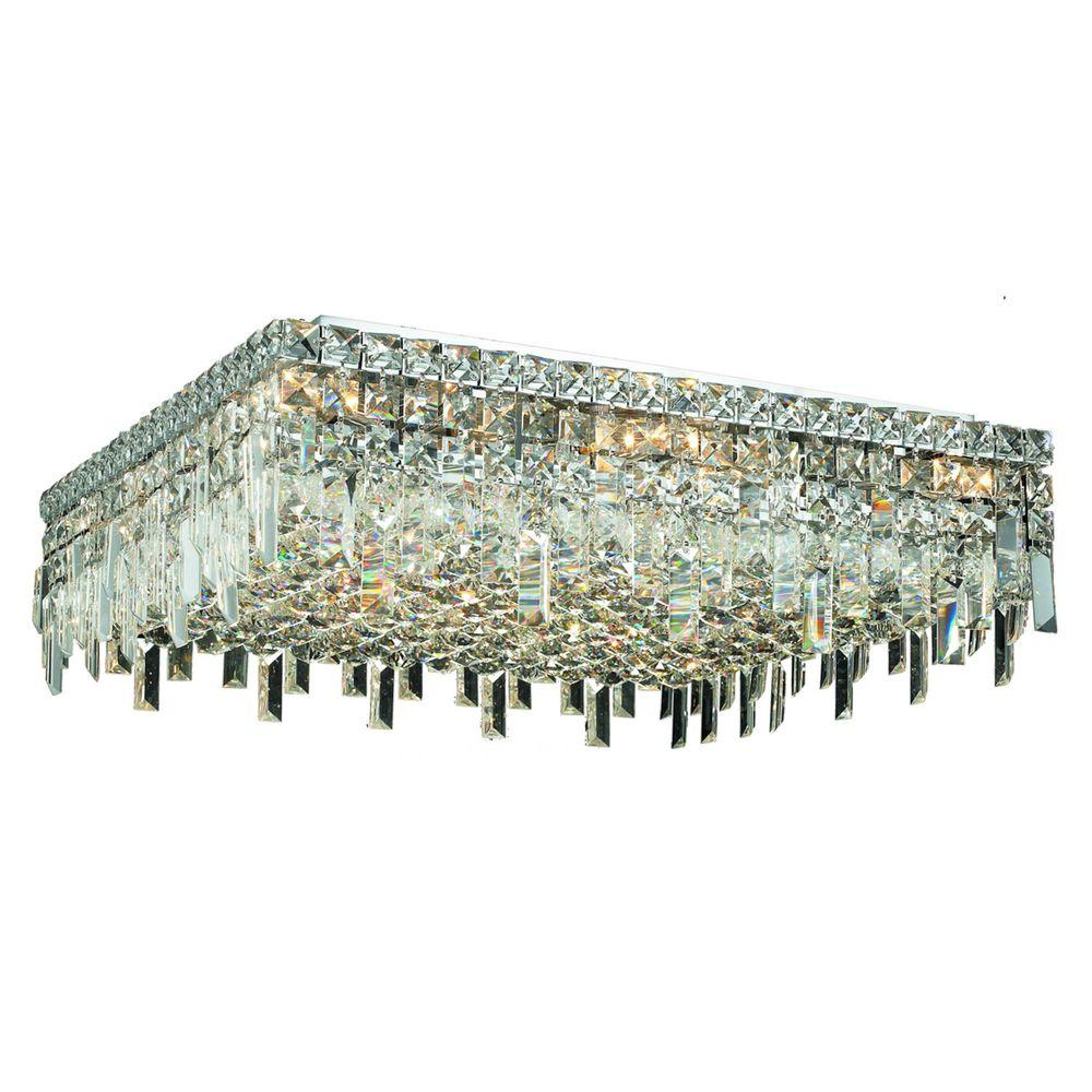 Elegant Lighting 13-Light Chrome Flushmount with Clear Crystal-EL2033F24C/RC - The Home Depot