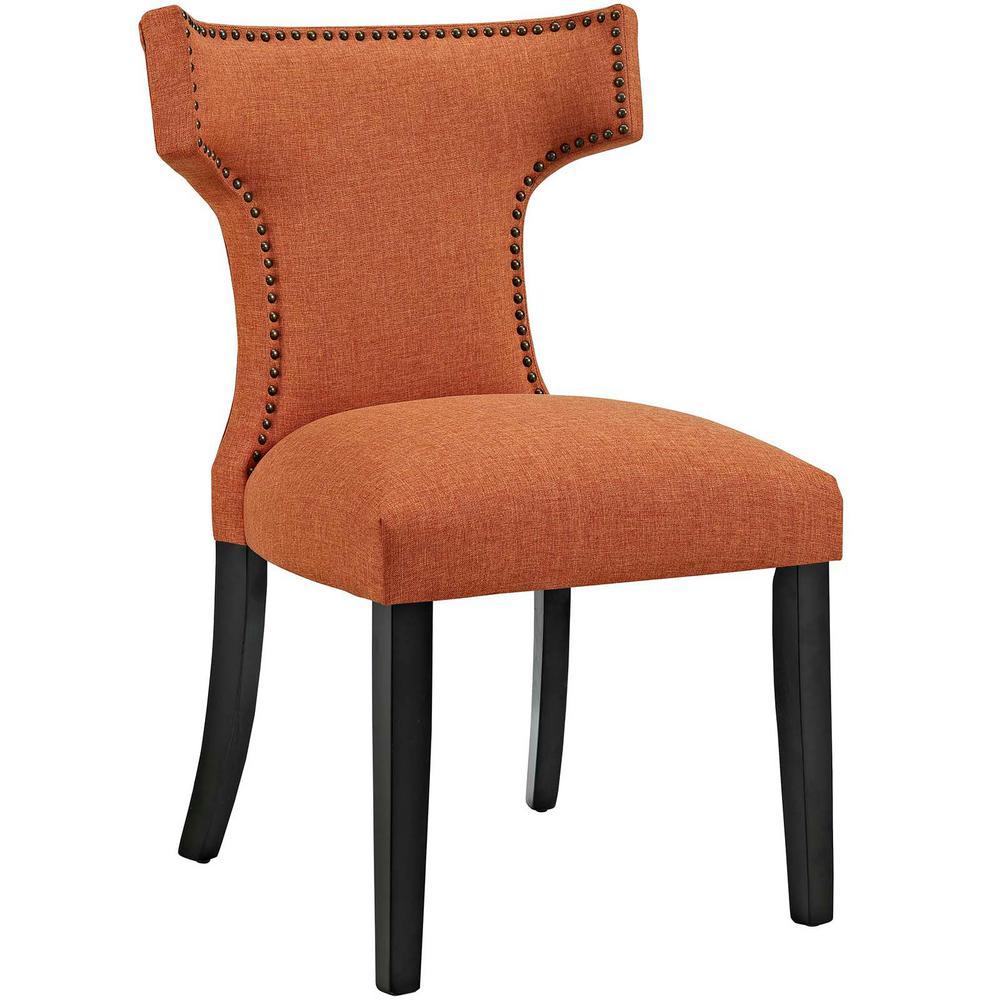 Curve Orange Fabric Dining Chair
