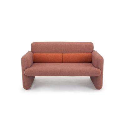Ross Series Red Woven Fabric Upholstered Modern Accent Loveseat Sofa with Matching Back Support Cushions