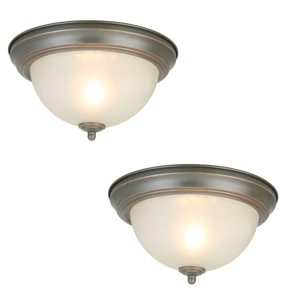 Commercial Electric 11 in. 1-Light Oil Rubbed Bronze Flush Mount with Frosted Glass Shade (2-Pack)