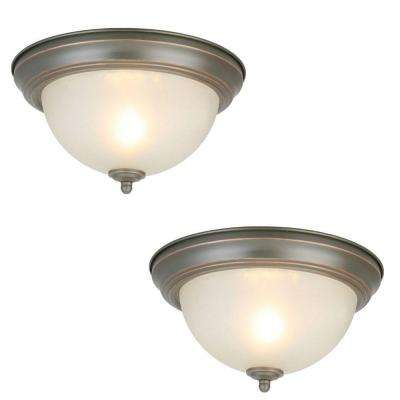 11 in. 1-Light Oil Rubbed Bronze Flush Mount with Frosted Glass Shade (2-Pack)