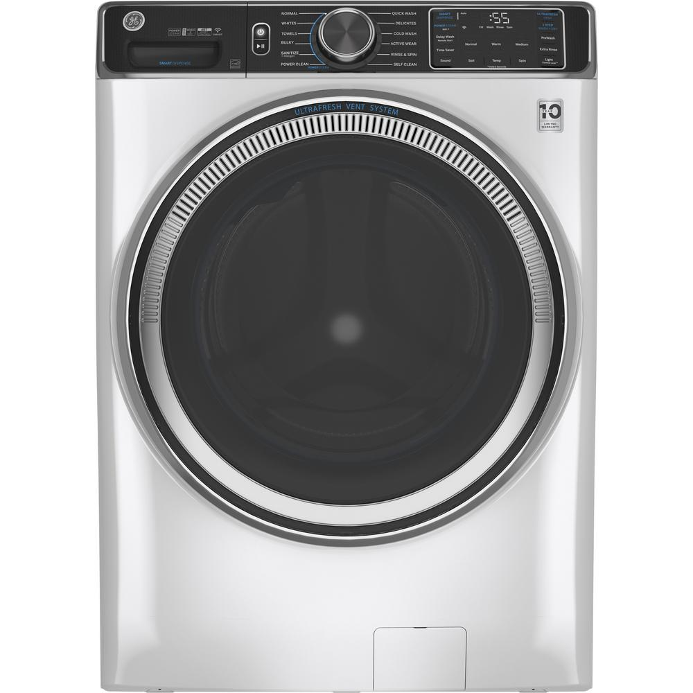GE 5.0 cu. ft. White Front Load Washing Machine with OdorBlock UltraFresh Vent System with Sanitize and Allergen