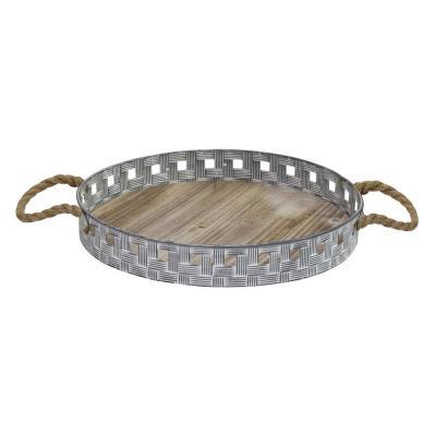 Stratton Gray Home Decor Woven Metal and Wood Tray