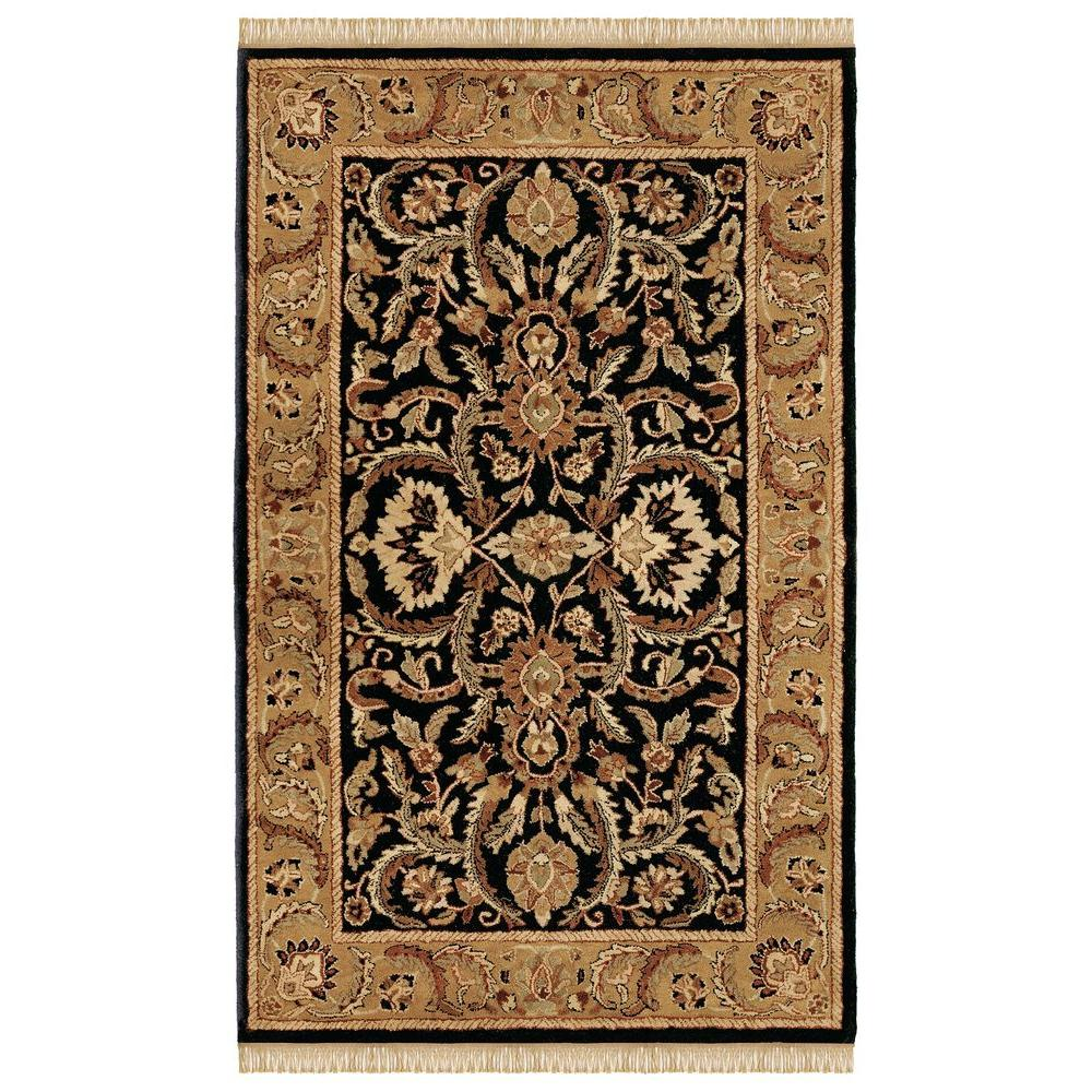 Linon home decor rosedown collection black and gold 4 ft for Home accents rug collection