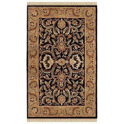 Rosedown Collection Black and Gold 4 ft. x 6 ft. Indoor Area Rug