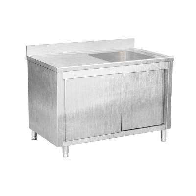 Freestanding Stainless Steel 56 in. Single Bowl Kitchen Sink on Right Backsplash Storage Cabinet