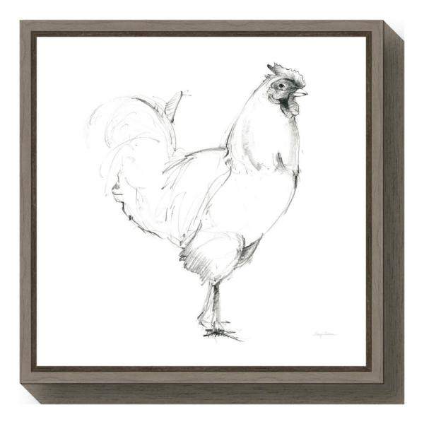 """Amanti Art """"Rooster II Dark Square"""" by Avery Tillmon Framed Canvas Wall Art"""
