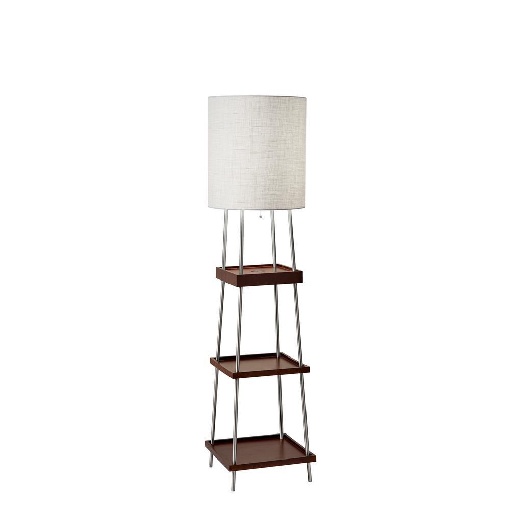 Henry Qi Wireless Charging 63 in. Brushed Steel/Wood Shelf Floor Lamp