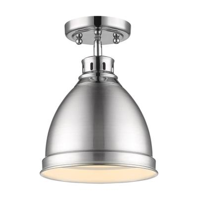 Duncan 9 in. 1-Light Chrome with Pewter Shade Flush Mount