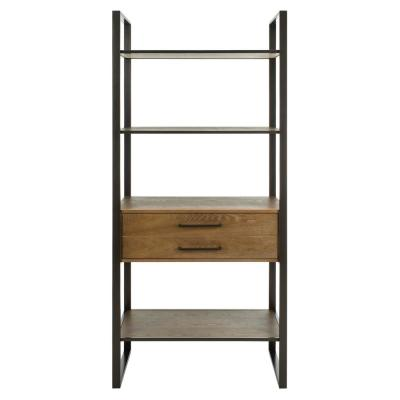 72 in. Gun Metal Metal 4-shelf Etagere Bookcase with Open Back