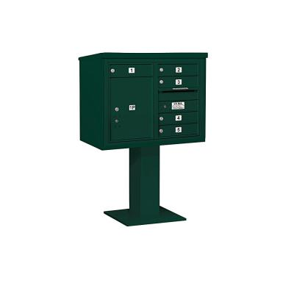 3400 Horizontal Series 5-Compartment 1-Parcel Locker Pedestal Mount Mailbox