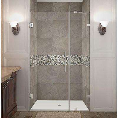 Nautis 39 in. x 72 in. Frameless Hinged Shower Door in Stainless Steel with Clear Glass