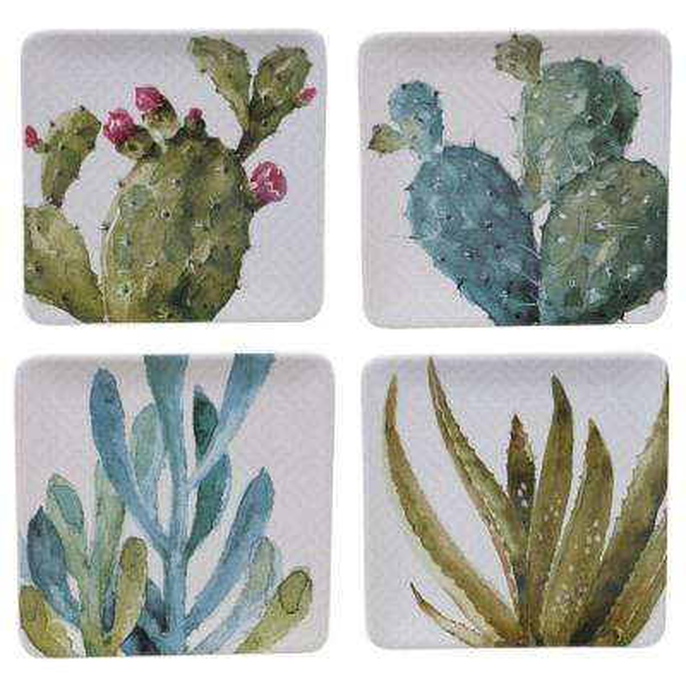 Cactus Verde Square Dessert Plate (Set of 4)