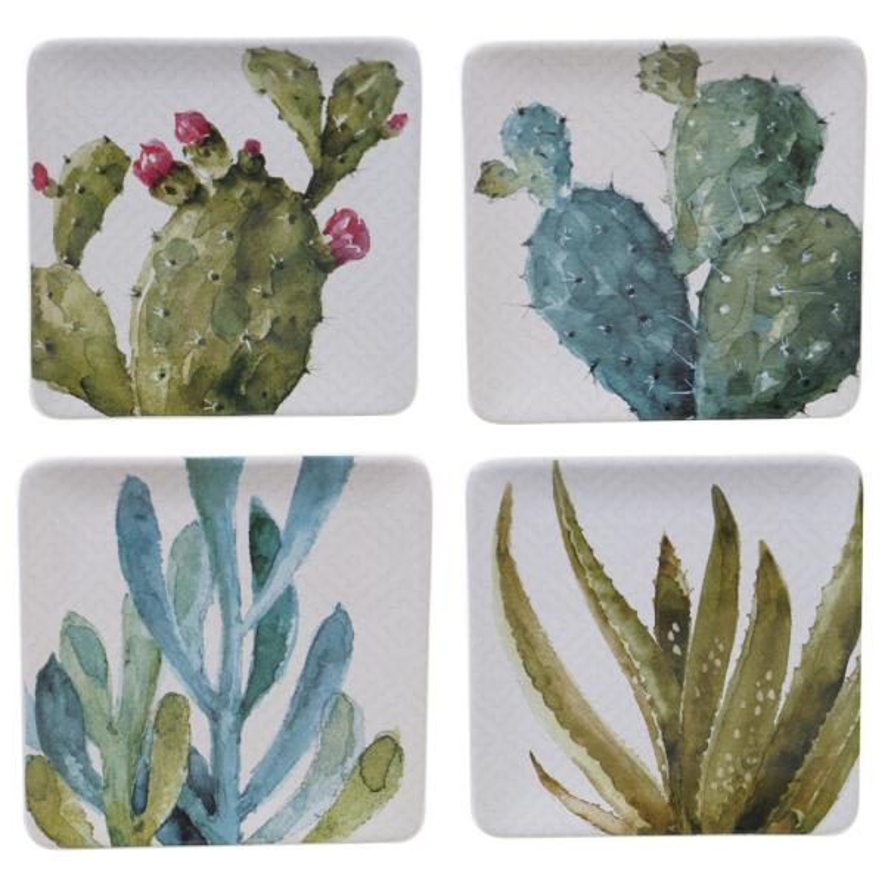Certified International Cactus Verde Square Dessert Plate (Set of 4) 22171SET4