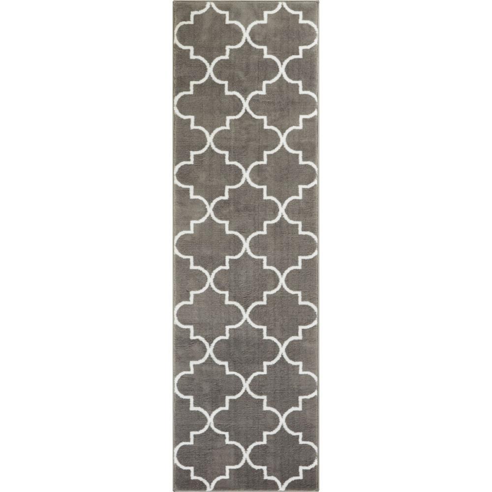 Dulcet Elle's Lattice 2 ft. x 7 ft. Modern Geometric Trellis Grey Runner Rug