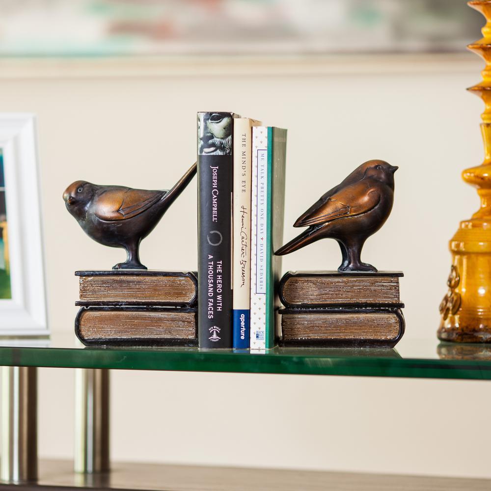 Savvy Bronze Patina Birds on Books Bookends (Set of 2)