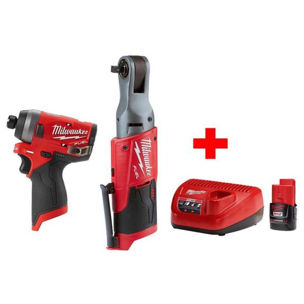 M12 FUEL 12-Volt Lithium-Ion Brushless Cordless 3/8 in. Ratchet & 1/4 in. Impact Combo with (1) 2.0Ah Battery & Charger