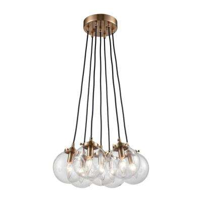 Boudreaux 7-Light Matte Black and Antique Gold Chandelier with Clear Glass Globe Shades