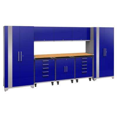 Performance Plus 2.0 80 in. H x 161 in. W x 24 in. D Steel Garage Cabinet Set in Blue (9-Piece) with Bamboo Worktop