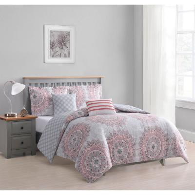Annabelle 5-Piece Coral Reversible Queen Comforter Set
