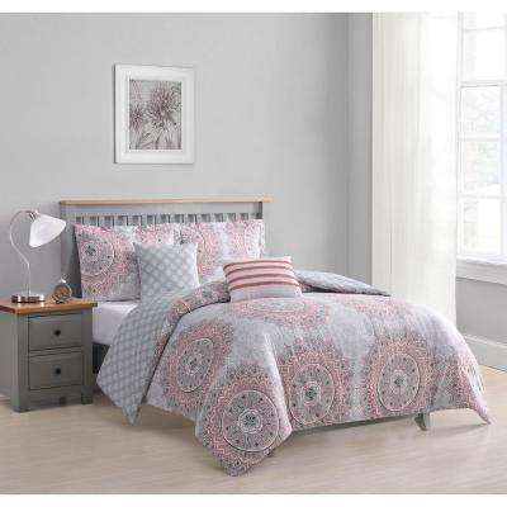 Annabelle 5-Piece Coral Reversible Queen Comforter Set