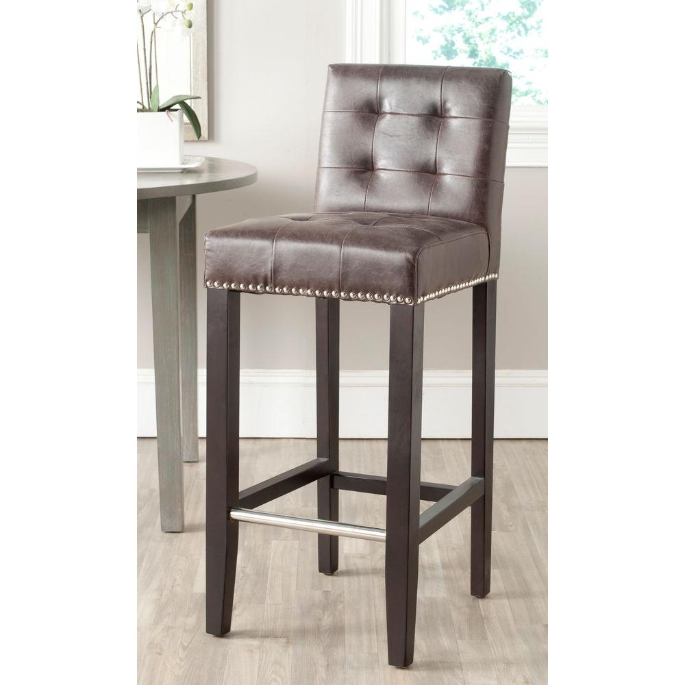 Antique Brown Cushioned Bar Stool