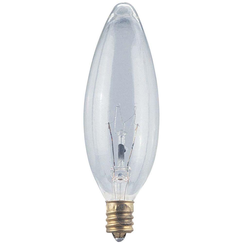 Globe Electric 25-Watt Incandescent B10 Clear Candelabra Base Chandelier Light Bulb (6-Pack)