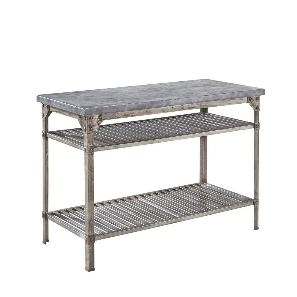 Home Styles Urban Style 52 in. W Kitchen Island in Aged Metal with Concrete Top