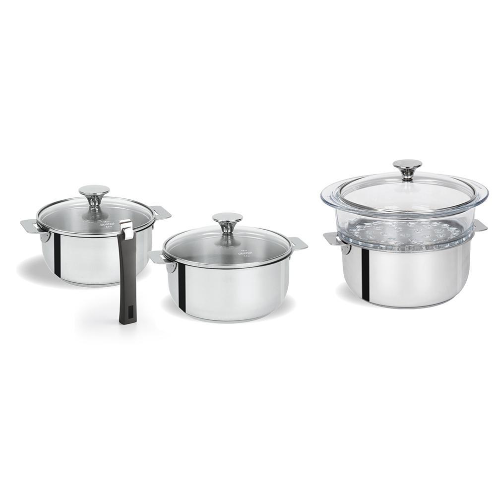Tulipe 8-Piece Stainless Steel Sauce Pan Set