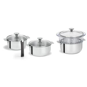 Tulipe 8-Piece Stainless Steel Sauce Pan Set