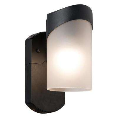 Contemporary Smart Security Companion Textured Black Metal and Glass Outdoor Wall Lantern Sconce