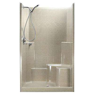 48 in. x 37 in. x 80 in. 1-Piece Low Threshold Shower Stall in Beach, Shower Kit, Right Hand Side Seat, Center Drain