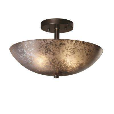 Fusion Ring 14 in. 2-Light Dark Bronze Semi-Flush Mount with Mercury Glass Shade