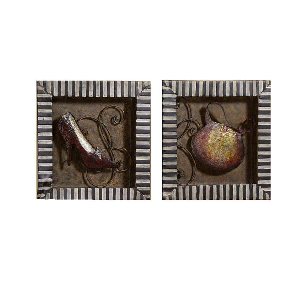 Home Decorators Collection 15 in. H x 15 in. W Shoe and Bag Antique Wall Art