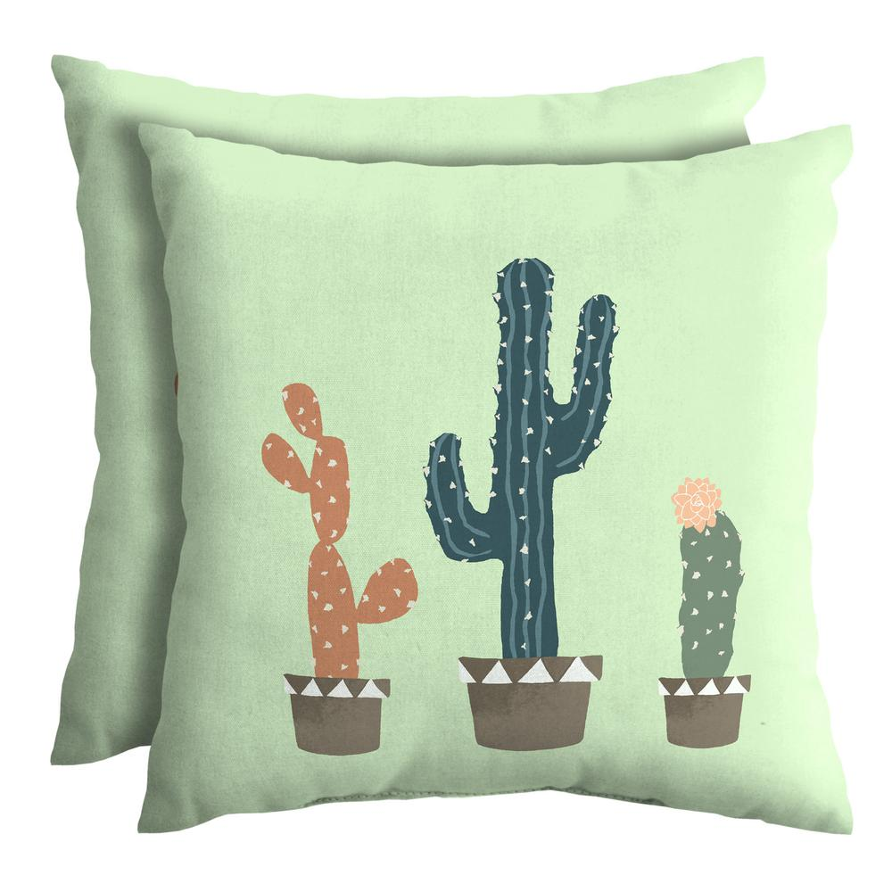 Throw Pillow Two Pack : Hampton Bay Charleston Cacti 18 in. Square Outdoor Throw Pillow (2-Pack)-TH0F546B-D9D2 - The ...