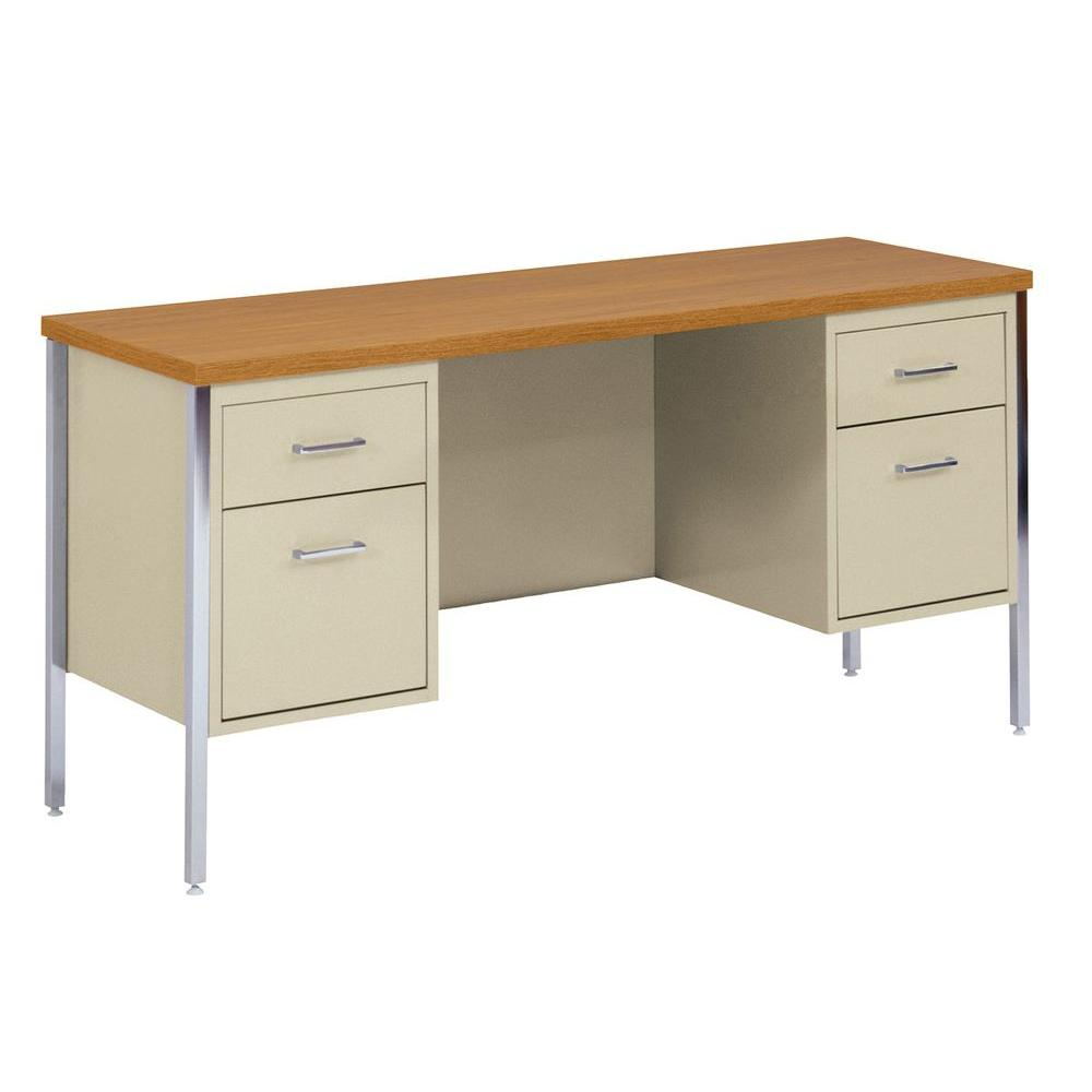 400 Series Double Pedestal Credenza Steel Desk in Putty/Oak