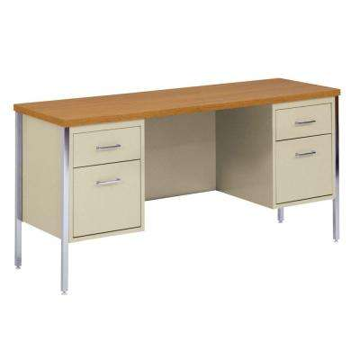 400 Series Double Pedestal Credenza Steel Desk in Putty/Oak